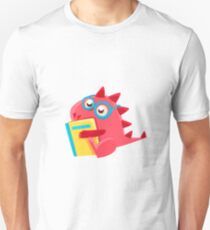 Red Dragon Reading A Book Illustration T-Shirt