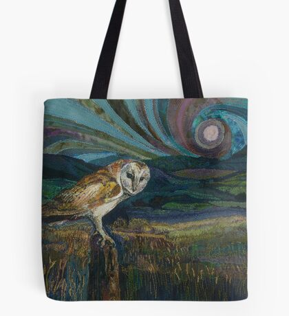 Sitting Pretty - Barn Owl Embroidery Textile Art Tote Bag