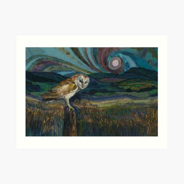 Sitting Pretty - Barn Owl Embroidery Textile Art Art Print