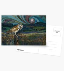 Sitting Pretty - Barn Owl Embroidery Textile Art Postcards