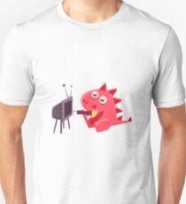 Red Dragon Watching TV Illustration T-Shirt