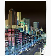 Seattle Alaskan Way Negative Poster