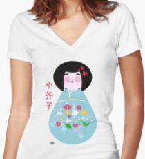 kokeshi doll Women's Fitted V-Neck T-Shirt