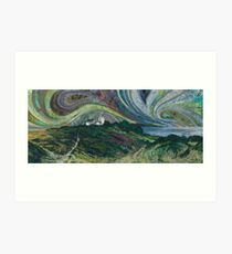 Clifftop Walk - Overstrand to Cromer, Norfolk Embroidery - Textile Art Art Print