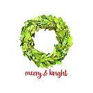 Christmas Boxwood Wreath Merry & Bright by Ann Drake