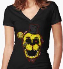 Bloody Golden Freddy FNAF Women's Fitted V-Neck T-Shirt