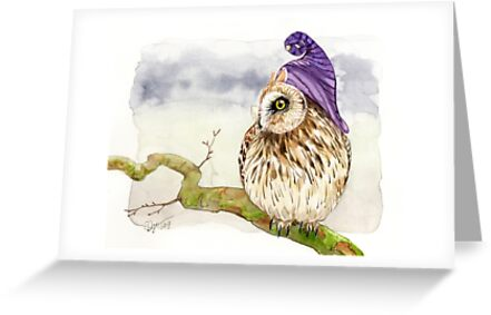 Strange short eared owl greeting cards by goldeen ogawa redbubble strange short eared owl by goldeen ogawa m4hsunfo