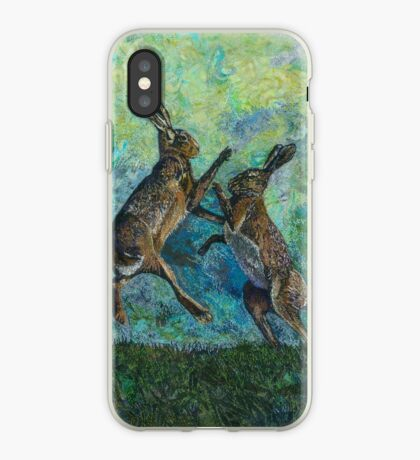 Boxing Hares Embroidery - Textile Art iPhone Case