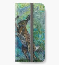 Boxing Hares Embroidery - Textile Art iPhone Wallet/Case/Skin