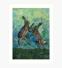 Boxing Hares Embroidery - Textile Art Art Print