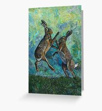 Boxing Hares Embroidery - Textile Art Greeting Card