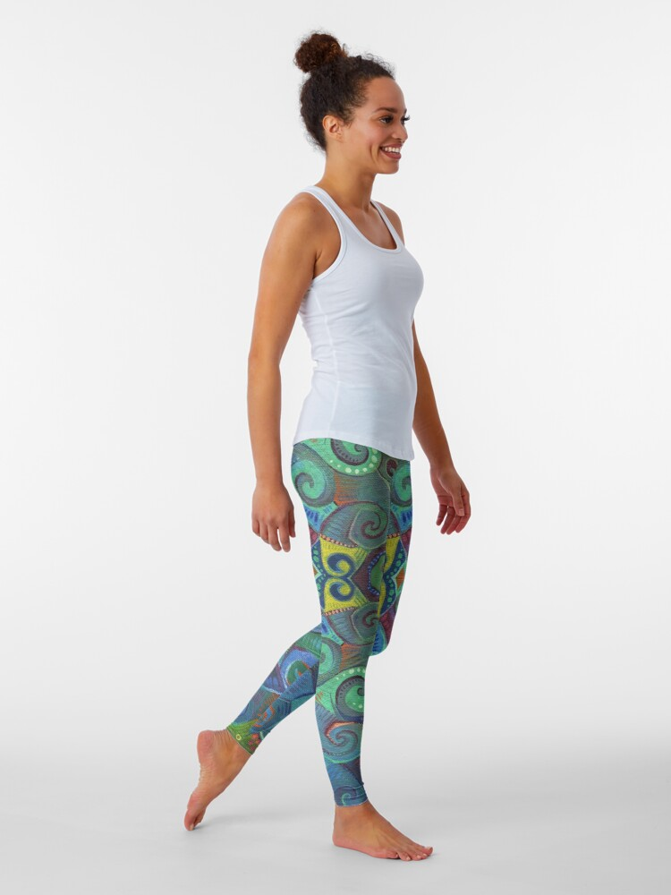 Alternate view of Blue Rainbow Swirl Design - 2017 Leggings