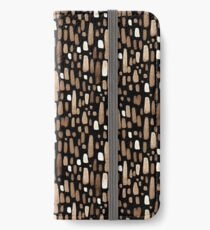 White brown watercolor strokes on a black background iPhone Wallet/Case/Skin