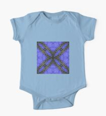 Kaleidoscope Blue Leather with Black Stitching - 3D - Photograph of Fiber Artwork - Circle Pattern Kids Clothes