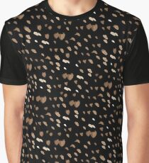 White brown watercolor specks on a black background Graphic T-Shirt