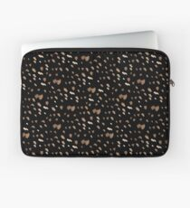 White brown watercolor specks on a black background Laptop Sleeve