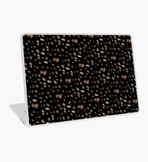 White brown watercolor specks on a black background Laptop Skin