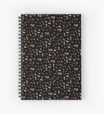 White brown watercolor specks on a black background Spiral Notebook