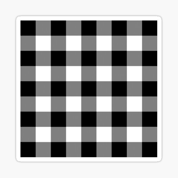 White and Black Buffalo Plaid Check Sticker