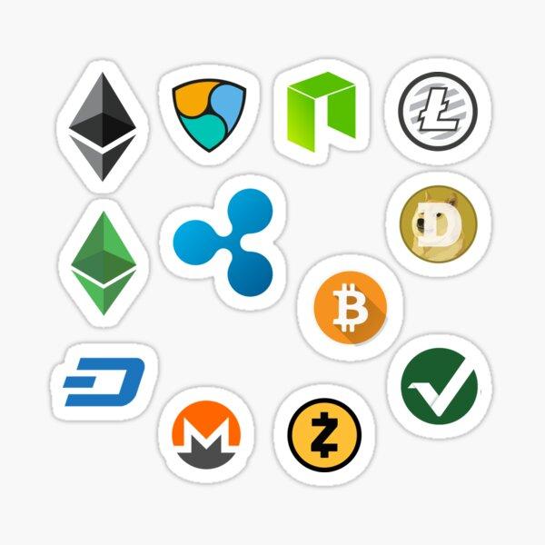 Crypto band #1 (BTC, LTC, ETH, ETC, DASH, DOGE, VTC, XEM, NEM, XRP, ZEC, NEO) Sticker