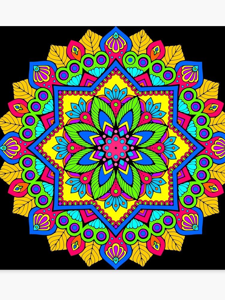 Bright Colorful Floral Mandala Art Canvas Print