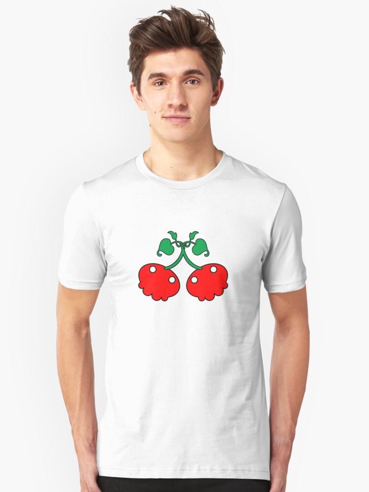 Cherry Skull Red Unisex T-Shirt Front