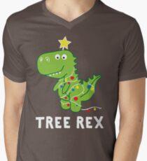 Funny Christmas Dinosaur Tree Rex Men's V-Neck T-Shirt