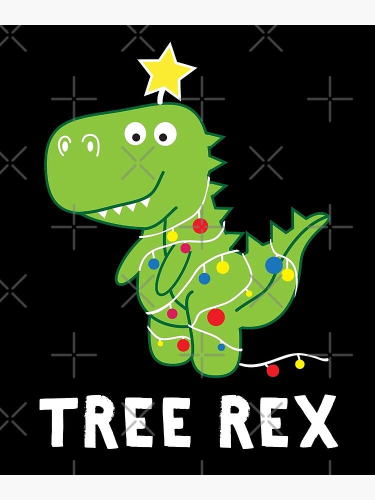 Christmas Dinosaur.Funny Christmas Dinosaur Tree Rex Poster