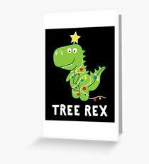 Funny Christmas Dinosaur Tree Rex Greeting Card