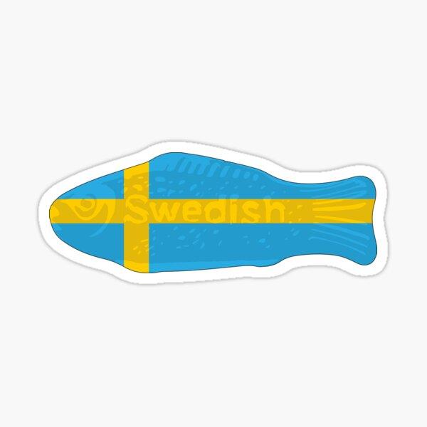 Swedish Fish in Swedish Flag Tshirt Sticker