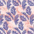 Indigo and Coral Palms by Tammy Wetzel