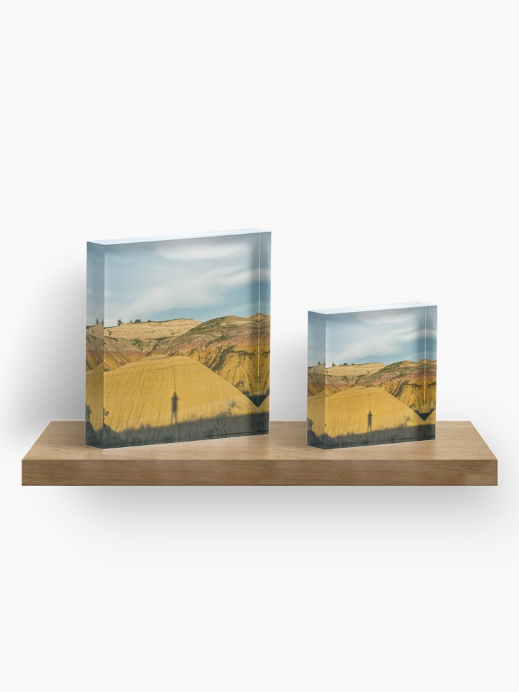 Alternate view of Yellow mounds in Badlands South Dakota Acrylic Block