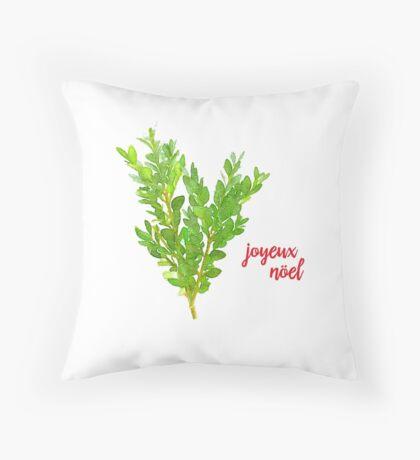 Joyeux Noel Christmas Boxwood Throw Pillow