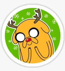 Jake the Dog Reindeer Adventure Time Christmas  Sticker