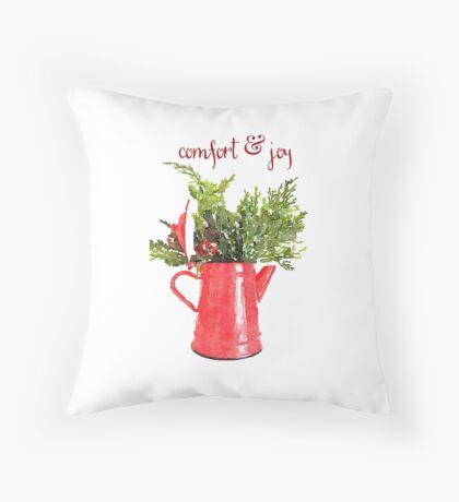 Comfort & Joy Christmas Red Enamelware Pitcher Throw Pillow