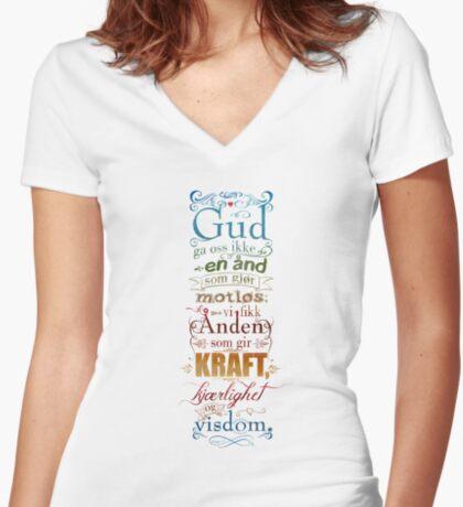 Gud ga oss ikke en ånd som gjør motløs Fitted V-Neck T-Shirt