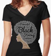 Camiseta entallada de cuello en V Mujer negra, pelo natural, palabras, en, Afro