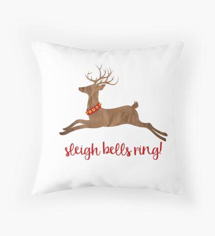 Sleigh Bells Ring Christmas Reindeer Throw Pillow