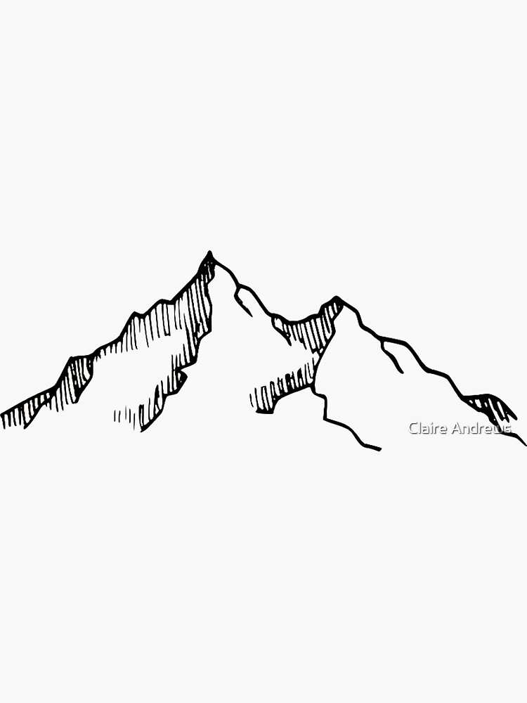 Ski and Hiking Mountain Sketch by Claireandrewss