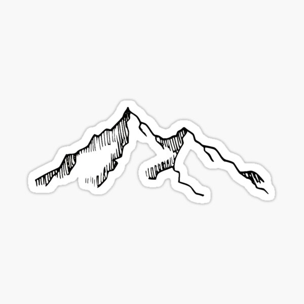 Ski and Hiking Mountain Sketch Sticker