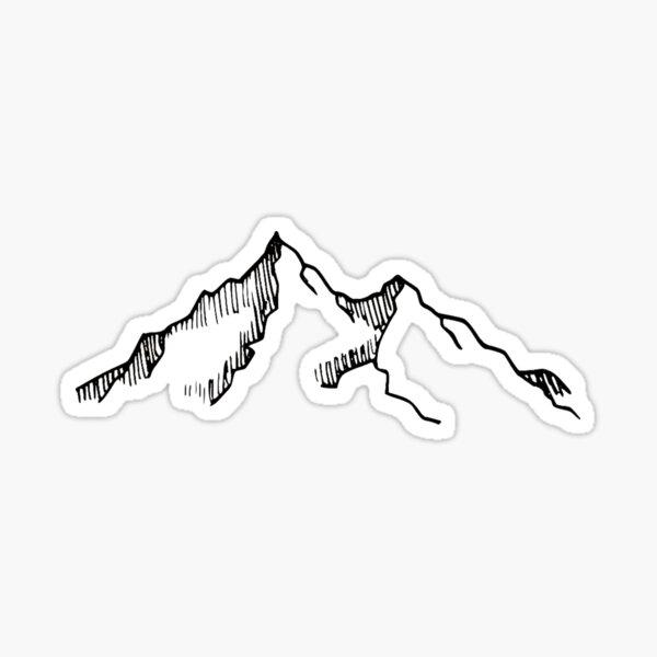 Bosquejo de montaña de esquí y senderismo Pegatina