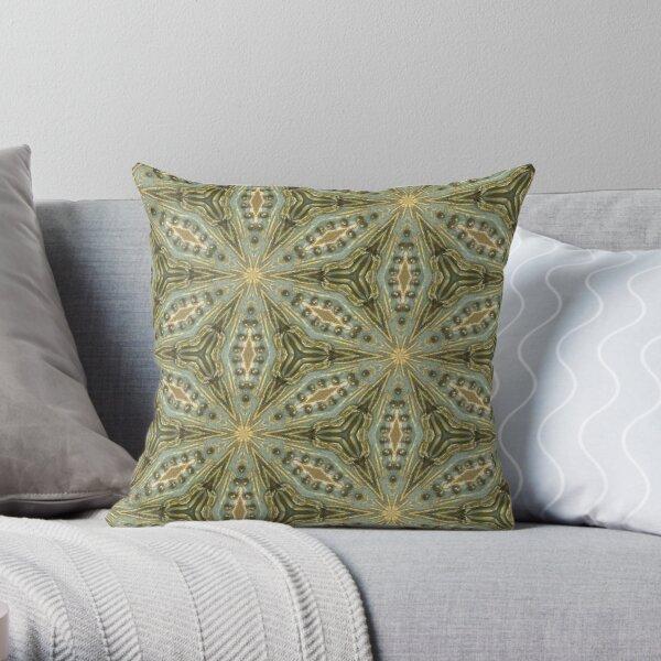 Antique Gold Bead, Sage Green Wash - Vintage Bold KaleidoSnap Throw Pillow