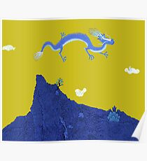 Blue Dragon and Mountain Poster