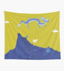 Blue Dragon and Mountain Wall Tapestry