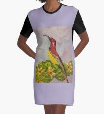 Bird with Flowers  Graphic T-Shirt Dress