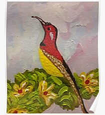 Bird with Flowers  Poster