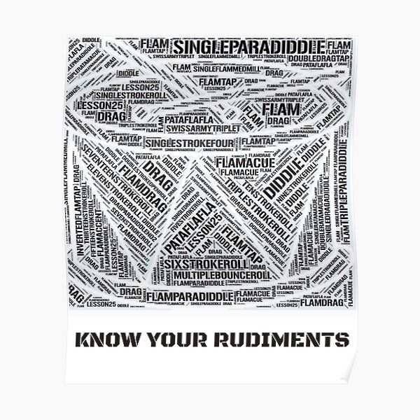 Know Your Drum Rudiments Word Cloud Poster