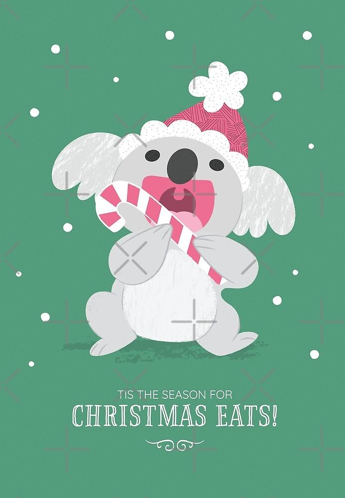 Christmas Koala Eating A Candy Cane by KristyKate