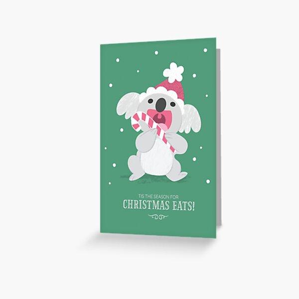 Christmas Koala Eating A Candy Cane Greeting Card