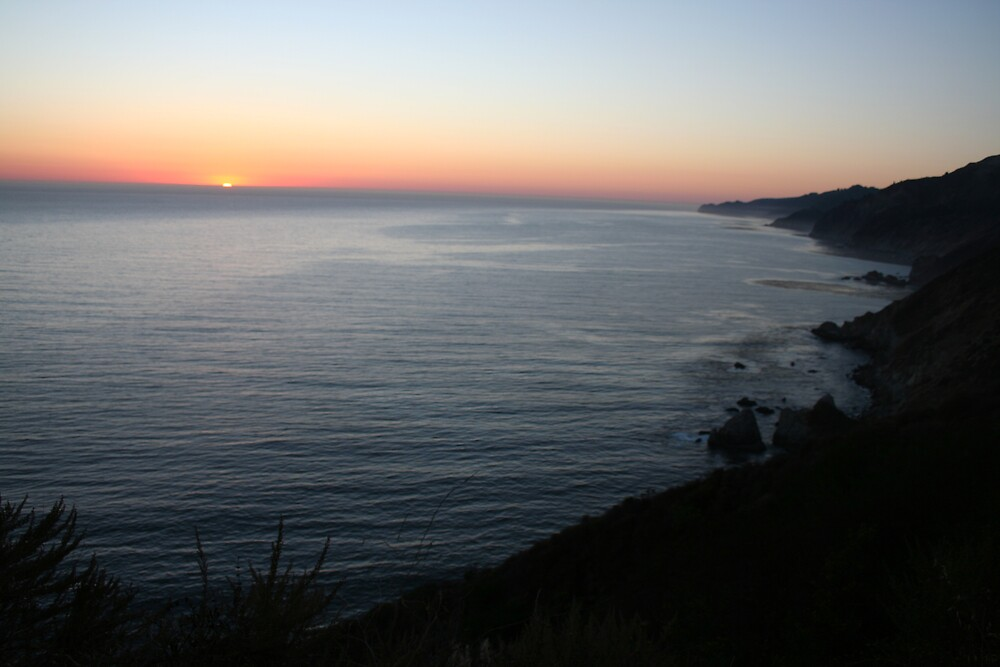 Sunset on the Pacific from Highway 1 CA by Ilan Cohen